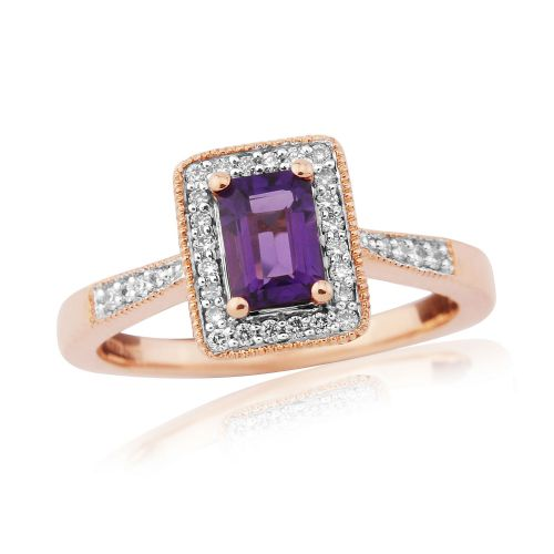 Amethyst And Diamond 9 Carat Rose Gold Cluster Ring